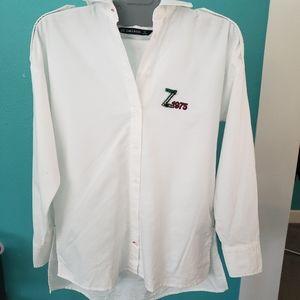 NWT Zara Basic white and beaded button down xs